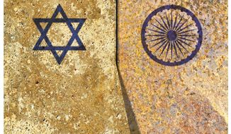 Illustration on an Israel/India alliance by Alexander Hunter/The Washington Times