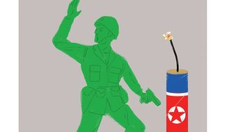 Illustration on the dangers of U.S. ground engagement in North Korea by Linas Garsys/The Washington Times