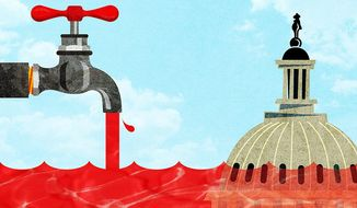 Adding to the Red Ink Illustration by Greg Groesch/The Washington Times