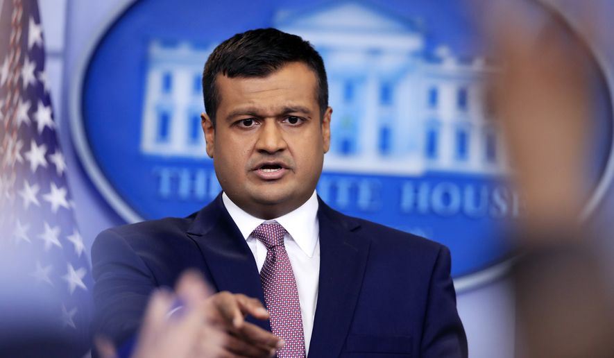White House deputy press secretary Raj Shah speaks during the daily press briefing in the Brady press briefing room at the White House, in Washington, Thursday, Feb. 8, 2018. (AP Photo/Manuel Balce Ceneta)