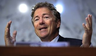 Sen. Rand Paul, R-Ky., questions state insurance commissioners during a hearing on the individual health insurance market for 2018 on Capitol Hill in Washington, Wednesday, Sept. 6, 2017. (AP Photo/Manuel Balce Ceneta) ** FILE **