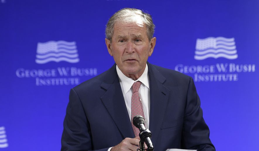 In this Thursday, Oct. 19, 2017, file photo, former U.S. President George W. Bush speaks at a forum sponsored by the George W. Bush Institute in New York. (AP Photo/Seth Wenig, File)