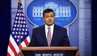 White House deputy press secretary Raj Shah talks to reporters during the daily press briefing in the Brady press briefing room at the White House, in Washington, Thursday, Feb. 8, 2018. (AP Photo/Manuel Balce Ceneta)