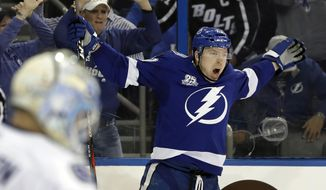 Tampa Bay Lightning left wing Adam Erne (73) celebrates after scoring against the Vancouver Canucks during the second period of an NHL hockey game Thursday, Feb. 8, 2018, in Tampa, Fla. (AP Photo/Chris O'Meara)