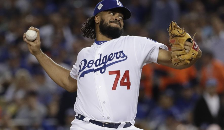 FILE - In this Nov. 1, 2017, file photo, Los Angeles Dodgers' Kenley Jansen throws during the seventh inning of Game 7 of baseball's World Series against the Houston Astros in Los Angeles. Jansen remains one of the best closers in the game. (AP Photo/Matt Slocum) ** FILE **