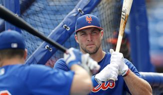 FILE - In this March 13, 2017, file photo, New York Mets' Tim Tebow (15) takes batting practice before a spring training baseball game against the Miami Marlins in Port St. Lucie, Fla. Tebow will be at the Mets spring training as a non-roster invite. The former NFL quarterback and 2007 Heisman Trophy winner batted .226 with eight homers, 52 RBIs and 126 strikeouts in 126 games last year at two levels of Class-A ball.  (AP Photo/John Bazemore, File) **FILE**