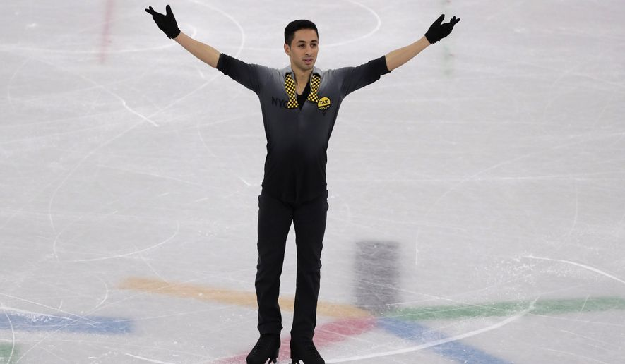 France's Chafik Besseghier performs in the men's single short program team event at the 2018 Winter Olympics in Gangneung, South Korea, Friday, Feb. 9, 2018. (AP Photo/Julie Jacobson)