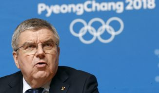 International Olympic Committee President Thomas Bach speaks at a news conference prior to the 2018 Winter Olympics in Pyeongchang, South Korea, Wednesday, Feb. 7, 2018. (AP Photo/Patrick Semansky)