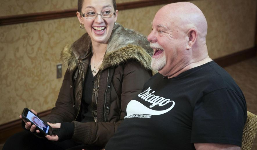 In a Friday, Jan. 5, 2018 photo, Jerika Starkweather, left, remarks how much Randall Lorenz of Reno looks like her grandmother after the two met for the first time, in Eagle, Idaho. The two connected after researching similarities in their DNA and discovered Lorenz could be closely related, perhaps an uncle Starkweather and her family never knew existed. Lorenz believes he was left in Chicago as an infant in 1952. Both of the people who raised him died when he was 16, and he later learned that they may not have actually been his birth parents. (Darin Oswald/Idaho Statesman via AP)