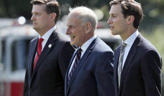 FILE - In this Aug. 4, 2017 file photo, from left, White House Staff Secretary Rob Porter, White House Chief of Staff John Kelly, and White House senior adviser Jared Kushner walk to Marine One on the South Lawn of the White House in Washington. President Donald Trump was en route to Bedminster, N.J., for vacation.  White House staff secretary Porter has resigned following allegations of domestic abuse by his two ex-wives.   (AP Photo/Alex Brandon)