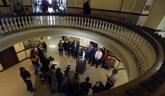 Attorney Brian Bouffard, who represents Jorge Daniel Salinas talks about his case being dropped by the McLennan County District Attorney's office during a press conference, Thursday, Feb. 8, 2018, in Waco, Texas. Salinas was involved in the roundup following the May 17, 2015 shootout at Twin Peaks that left nine bikers dead and 20 more injured. (Rod Aydelotte/Waco Tribune-Herald via AP)