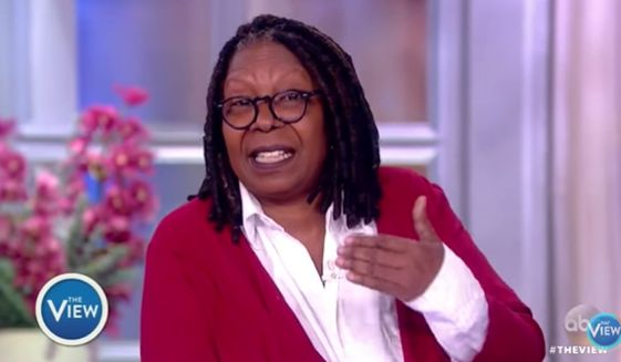 """The View"" co-host Whoopi Goldberg claimed Thursday that a meeting between openly gay Olympic figure skater Adam Rippon and Vice President Mike Pence would be like a Jew sitting down with a Nazi. (ABC)"