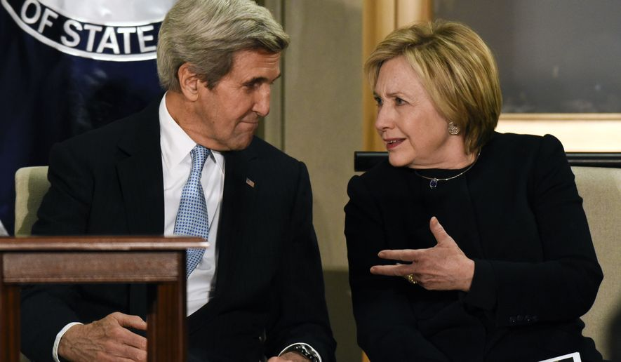 Secretary of State John Kerry, left, and former Secretary of State Hillary Clinton talk at a reception celebrating the completion of the U.S. Diplomacy Center Pavilion at the State Department in Washington, Tuesday, Jan. 10, 2017. (AP Photo/Sait Serkan Gurbuz)