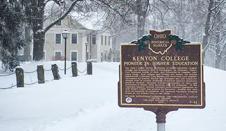 A state historical marker for Kenyon College in Gambier, Ohio. (Kenyon College/Facebook) [https://www.facebook.com/kenyoncollege/photos/a.10152624848387995.1073741829.45995527994/10157068299457995/?type=3&theater]