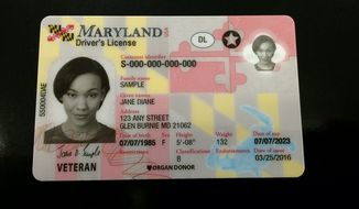 A sample image depicting the design for a Maryland driver's license. (WBALtv.com) [http://www.wbaltv.com/article/images-what-do-the-new-maryland-driver-s-licenses-look-like/7036105]