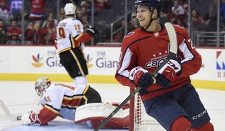 FILE - In this Nov. 20, 2017 file photo, Washington Capitals center Lars Eller (20), of Denmark, reacts after his goal during the first period of an NHL hockey game as Calgary Flames goalie Mike Smith, back left, lies on the ice in Washington.  The  Capitals have re-signed  Eller to a $17.5 million, five-year contract extension. Eller will count $3.5 million against the salary cap through the 2022-23 season. General manager Brian MacLellan announced the deal Saturday, Feb. 10, 2018. (AP Photo/Nick Wass, File)