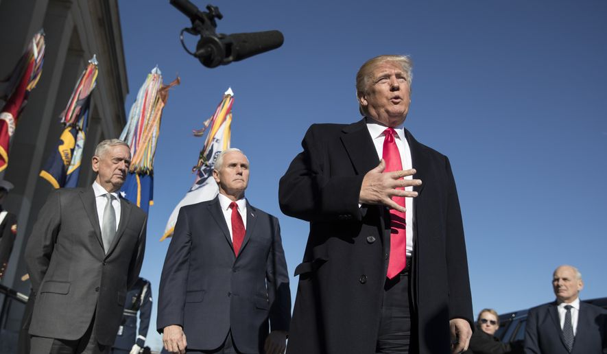 FILE - In this Jan. 18, 2018, file photo, President Donald Trump, joined by Defense Secretary Jim Mattis, left, Vice President Mike Pence, second from left, and White House Chief of Staff John Kelly, right, speaks to the media as he arrives at the Pentagon. When Jennifer Willoughby first stepped forward to tell the story how she was physically, emotionally and psychologically abused by her ex-husband, who had since become a top aide to President Donald Trump, the White House sent a clear message: We don't believe you. Instead, officials offered effusive support for her accuser. (AP Photo/Carolyn Kaster, File)