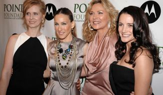 """FILE - In this April 7, 2008 file photo, from left,  Cynthia Nixon, Sarah Jessica Parker, Kim Cattrall and Kristin Davis arrive at the 2008 Point Foundation Benefit in New York. Cattrall lashed out at her former """"Sex and the City"""" co-star after Parker expressed support over the death of Cattrall's brother, Chris. In an Instagram message posted Saturday, Feb. 10, 2018, Cattrall wrote that Parker is not a friend and called her a hypocrite. The two actresses reportedly have not gotten along for years. (AP Photo/Peter Kramer, File)"""