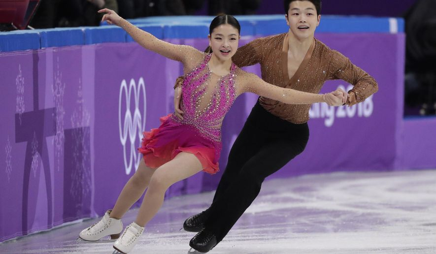 Maia Shibutani and Alex Shibutani of the United States perform during the ice dance short dance team event in the Gangneung Ice Arena at the 2018 Winter Olympics in Gangneung, South Korea, Sunday, Feb. 11, 2018. (AP Photo/Julie Jacobson)
