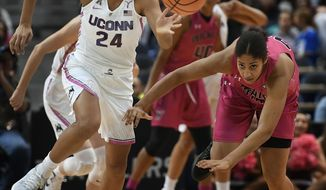 Connecticut's Napheesa Collier, left, steals the ball from Wichita State's Alyssia Faye during the first half of an NCAA college basketball game, Saturday, Feb. 10, 2018, in Hartford, Conn. (AP Photo/Jessica Hill)
