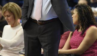 Connecticut head coach Geno Auriemma gestures to his team during the second half of an NCAA college basketball game against Wichita State, Saturday, Feb. 10, 2018, in Hartford, Conn. (AP Photo/Jessica Hill)