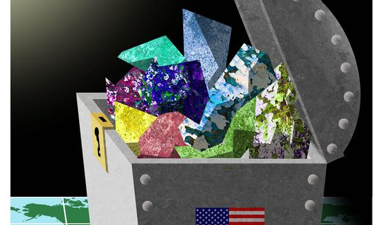 Illustration on America's mineral abundance by Alexander Hunter/The Washington Times