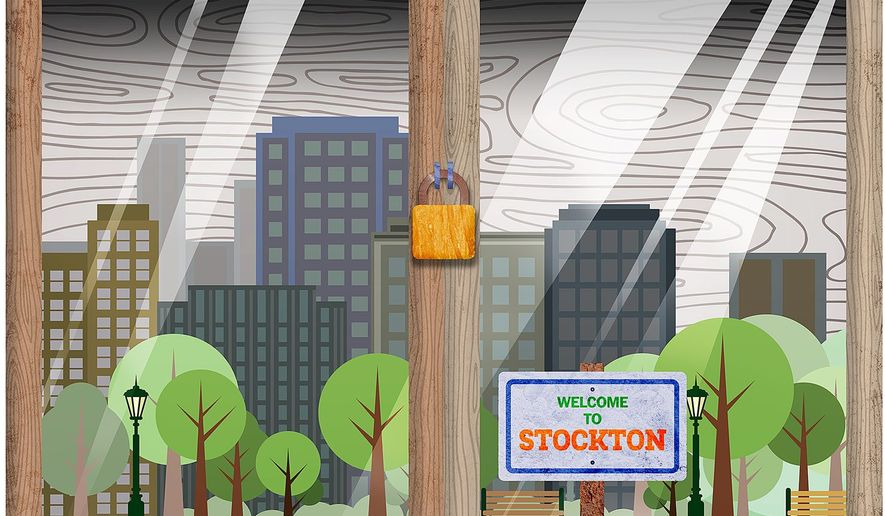 Stockton California in a Glass Box Illustration by Greg Groesch/The Washington Times
