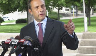 FILE - In this Aug. 3, 2016 file photo, Paul Nehlen, a Republican primary challenger to House Speaker Paul Ryan, speaks in Janesville, Wis. Nehlen's longshot bid to unseat Ryan will be the highlight of an otherwise sleepy Wisconsin primary Tuesday, Aug. 9, 2016. (AP Photo/Scott Bauer, File)