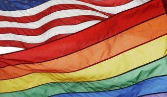 The Rainbow Flag flies beneath the American flag. (AP Photo/Mark Lennihan)
