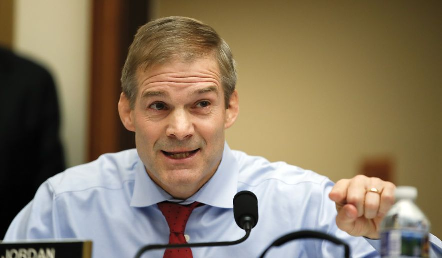 House Judiciary Committee member Rep. Jim Jordan, R-Ohio, questions FBI Director Christopher Wray during a House Judiciary hearing on Capitol Hill in Washington, Thursday, Dec. 7, 2017, on oversight of the Federal Bureau of Investigation. (AP Photo/Carolyn Kaster) ** FILE **