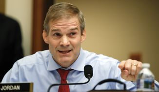 House Judiciary Committee member Rep. Jim Jordan, R-Ohio, questions FBI Director Christopher Wray during a House Judiciary hearing on Capitol Hill in Washington, Thursday, Dec. 7, 2017, on oversight of the Federal Bureau of Investigation. (AP Photo/Carolyn Kaster)