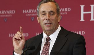 Lawrence Bacow speaks after being introduced Sunday, Feb. 11, 2018, in Cambridge, Mass., as the 29th president of Harvard University. Bacow, former president of Tufts University and a leader-in-residence at Harvard's Kennedy School of Government, assumes the office July 1. He will succeed Drew Faust, 70, who has served in the post for more than a decade as Harvard's first female president.
