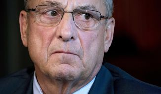 FILE - In this Sept. 22, 2017 file photo, Maine Gov. Paul LePage attends a meeting with Vice President Mike Pence to discuss health care and tax reform in the Eisenhower Executive Office Building on the White House Complex in Washington. Maine's bombastic, fiscally minded governor nears the last year of his term as governor, and he's going out with a focus on policy over scandal. (AP Photo/Andrew Harnik, File)
