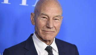 """FILE - In this Aug. 2, 2017 file photo, Patrick Stewart arrives at the Hollywood Foreign Press Association Grants Banquet at the Beverly Wilshire Hotel in Beverly Hills, Calif. Stewart was so moved by the inventors and inventions being honored by the motion picture academy Saturday night, Feb. 10, 2018, that he offered a spontaneous recitation of a scene from Shakespeare's """"A Midsummer Night's Dream."""" The venerable actor hosted the academy's annual Scientific and Technical Awards ceremony, an untelevised dinner at the Beverly Wilshire Hotel, and he closed the evening by going off-script with Puck's plea in defense of art. (Photo by Jordan Strauss/Invision/AP, File)"""