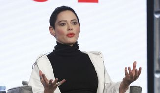 "In this Jan. 9, 2018, file photo, Rose McGowan participates in the ""Citizen Rose"" panel during the NBCUniversal Television Critics Association Winter Press Tour in Pasadena, Calif. (Photo by Willy Sanjuan/Invision/AP, File)"