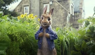 "Peter Rabbit, voiced by James Corden and Cottontail, appears in a scene from ""Peter Rabbit."" The filmmakers and the studio behind it are apologizing for insensitively depicting a character's allergy in the film that has prompted backlash online. Sony Pictures said Sunday, Feb. 11, 2018, in a statement the film ""should not have made light"" of a character being allergic to blackberries ""even in a cartoonish"" way. (Columbia Pictures/Sony via AP) ** FILE **"