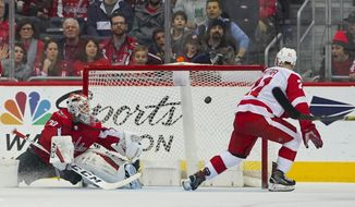 Detroit Red Wings left wing Tomas Tatar (21) watches his shot go past Washington Capitals goaltender Braden Holtby (70) during overtime of an NHL hockey game Sunday, Feb. 11, 2018, in Washington. Detroit won 5-4. (AP Photo/Pablo Martinez Monsivais)
