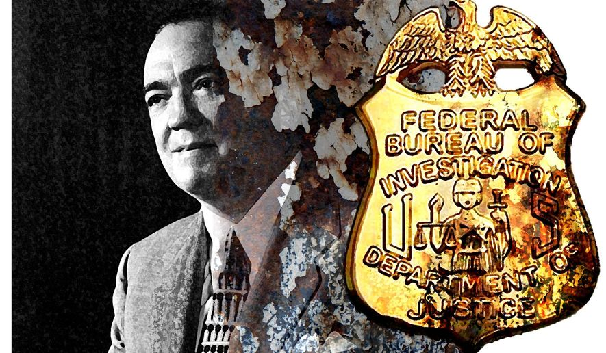 Illustration on the decline of FBI integrity since the days of J. Edgar Hoover by Alexander Hunter/The Washington Times