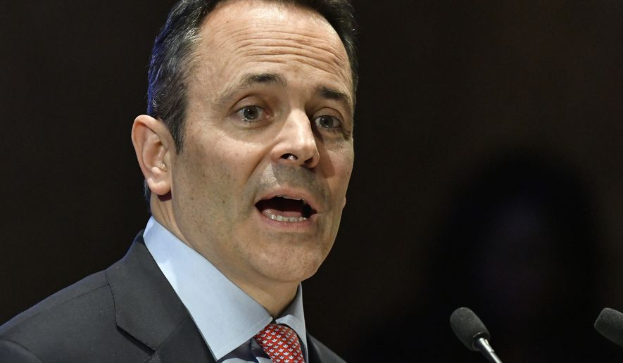 Kentucky Governor Matt Bevin addresses a joint session of the Kentucky statehouses during the State of the Commonwealth address, Wednesday, Feb. 8, 2017, in Frankfort, Ky. (AP Photo/Timothy D. Easley)