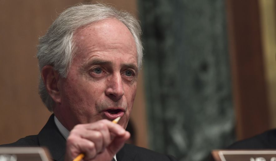 Sen. Bob Corker, R-Tenn., asks a question of Treasury Secretary Steven Mnuchin during a Senate Banking Committee hearing on Capitol Hill in Washington, Tuesday, Jan. 30, 2018, on the Financial Stability Oversight Council. (AP Photo/Susan Walsh) ** FILE **