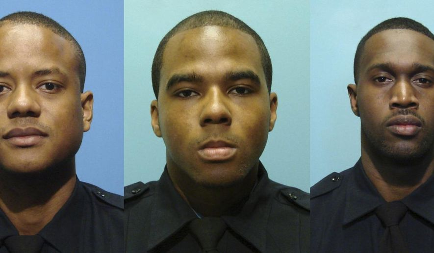 These undated photos provided by the Baltimore Police Department show, from left, Daniel Hersl, Evodio Hendrix, Jemell Rayam, Marcus Taylor, Maurice Ward, Momodu Gando and Wayne Jenkins, the seven police officers who are facing charges of robbery, extortion and overtime fraud, and are accused of stealing money and drugs from victims, some of whom had not committed crimes. Acting Baltimore Police Commissioner Darryl DeSousa says the department will move to fire detectives Hersl and Taylor after their convictions in federal court for robbery, extortion and racketeering. A federal jury in Baltimore convicted them Monday, Feb. 12, 2018.(Baltimore Police Department via AP)