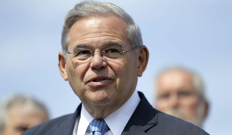 FILE - In this Aug. 17, 2017, file photo, U.S. Sen. Bob Menendez, D-N.J., speaks during a news conference in Union Beach, N.J. Bob Hugin, who most recently served as Celgene Corp.'s executive chairman until his retirement from the pharmaceutical firm on Monday, Feb. 5, 2018, announced in a Monday, Feb. 12, 2018, email he will challenge Menendez's re-election bid by competing for the Republican nomination in New Jersey's Tuesday, June 5, 2018, primary against technology consultant Richard Pezzullo. (AP Photo/Julio Cortez, File)