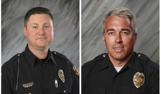 FILE - These undated file photos provided by the City of Westerville, Ohio show Officers Eric Joering, 39, left, and Anthony Morelli, 54, who were fatally shot while responding to a hang-up 9-1-1 call on Saturday, Feb. 10, 2018.  Police in the Columbus suburb of Westerville on Monday, Feb. 12 will escort the bodies of two slain officers as they're moved from a coroner's office to separate funeral homes. Officials invited the public to line the route as the bodies are transported Monday to honor the officers.  (City of Westerville via AP, File)
