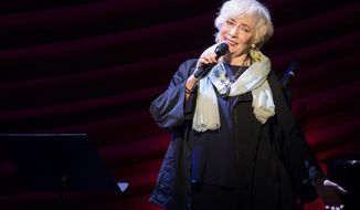 """FILE - In this Nov. 17, 2014, file photo, Betty Buckley performs at """"Everybody, Rise! A Celebration of Elaine Stritch"""" in New York. Buckley, the Tony Award-winning actress who belted out """"Memories"""" in """"Cats"""" on Broadway and starred in """"Eight Is Enough"""" on TV, has been tapped to lead the national tour of """"Hello, Dolly!"""" (Photo by Charles Sykes/Invision/AP, File)"""