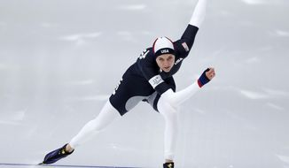 Heather Bergsma of the U.S. competes during the women's 1,500 meters speedskating race at the Gangneung Oval at the 2018 Winter Olympics in Gangneung, South Korea, Monday, Feb. 12, 2018. (AP Photo/John Locher)