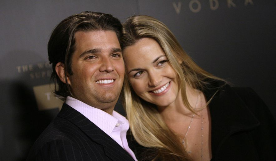 In a Jan. 17, 2007, file photo, Donald Trump Jr., left, and his wife Vanessa arrive for the Trump Vodka launch party by Drinks America hosted by Donald J. Trump at Les Deux in the Hollywood section of Los Angeles. Donald Trump Jr.'s wife was taken to a New York City hospital as a precaution Monday, Feb. 12, 2018, after she opened an envelope addressed to her husband that contained an unidentified white powder, police said. (AP Photo/Danny Moloshok, File)
