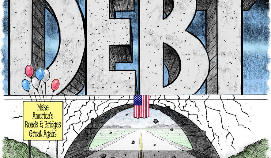 Crumbling Infrastructure (Illustration by Alexander Hunter for The Washington Times)