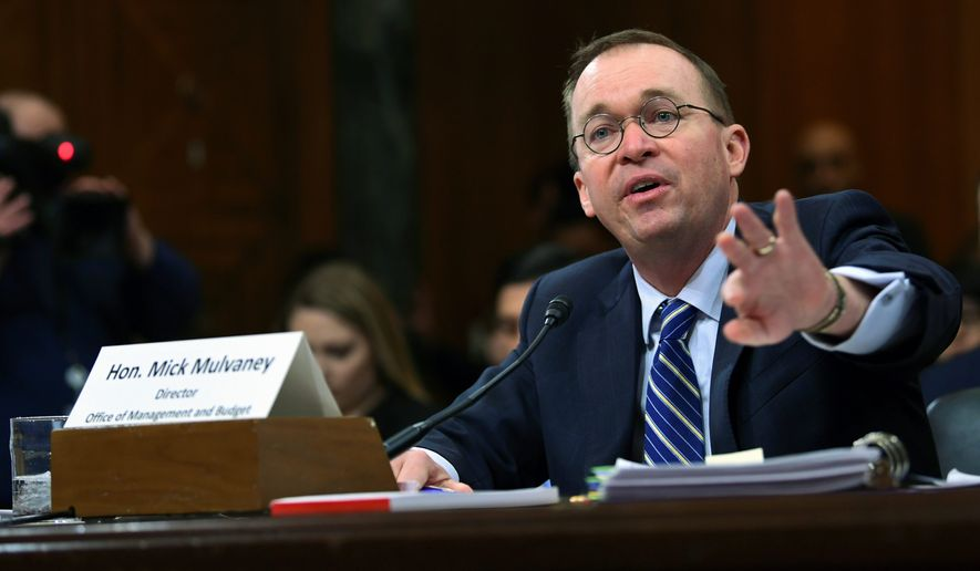 Budget Director Mick Mulvaney acknowledged that the 2019 budget plan leaves big deficits, but he said this would have been even worse without some $3 trillion in cuts over the next decade that President Trump suggested. Mr. Mulvaney said that he warned Congress last year that both parties need to reduce their spending. testifies before the Senate Budget Committee on Capitol Hill in Washington, Tuesday, Feb. 13, 2018, on President Donald Trump's fiscal year 2019 budget proposal. (Associated Press)