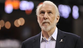 San Antonio Spurs head coach Gregg Popovich is seen in the first half of an NBA basketball game Monday, March 28, 2016, in Memphis, Tenn. (AP Photo/Brandon Dill)