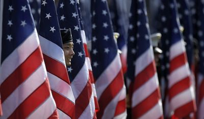 "Members of the armed services stand among flags prior to the national anthem as part of ""Salute to Service"" during an NFL football game between the Los Angeles Chargers and the Buffalo Bills, Sunday, Nov. 19, 2017, in Carson, Calif. (AP Photo/Mark J. Terrill)"